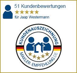 Qualitätssiegel makler-empfehlung.de für Jaap Westermann